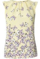 Dorothy Perkins Womens **Billie & Blossom Yellow Butterfly Print Shell Top- Yellow