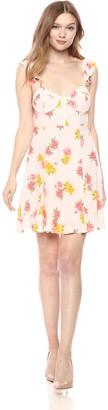 ASTR the Label Women's Brianne Casual Print Ruffle Strap Short Flowy Dress