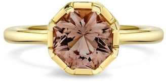 Andy Lif 18kt Yellow Gold Precision Cut Champagne Tourmaline, Diamond And Cognac Translucent Enamel Ring