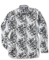 Visconti Flocked Floral Long-Sleeve Woven Shirt