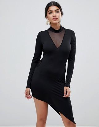 Glamorous bodycon dress with asymmetric hem-Black
