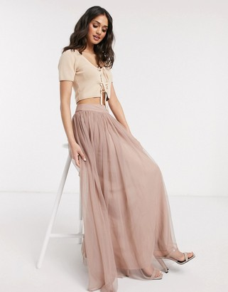 Lace & Beads tulle maxi skirt in mink