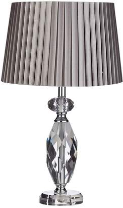 Zuri Faceted Glass Table Lamp with Grey Micropleat Shade