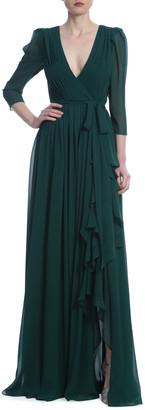 Badgley Mischka 3/4-Sleeve Georgette Ruffle Gown