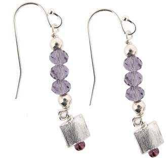 Earth Sterling Purple Glass Bead Earrings with Square Drops