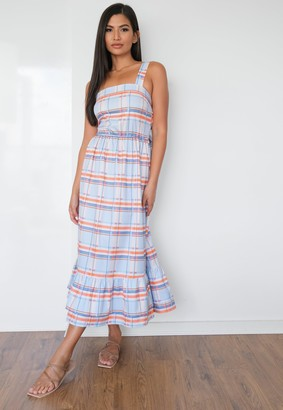 Missguided Tall Blue Gingham Tiered Midaxi Dress