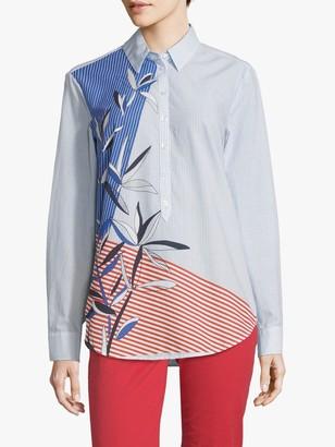 Betty Barclay Striped Leaf Print Shirt, Light Blue/White