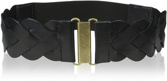 elise m. Women's Skylar- Leather Wide Braided Belt with Elastic Back and Hook Front Closure