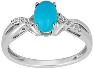 Jewelili Sterling Silver Oval Gemstone Crossover Ring