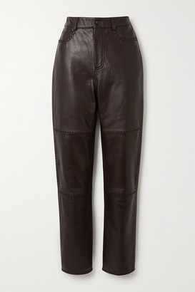 Ganni Paneled Leather Straight-leg Pants - Brown