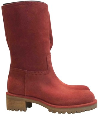 Prada Red Suede Boots
