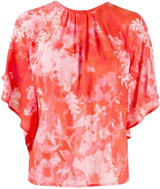 Pinko Floral Print Billowing Sleeve Blouse