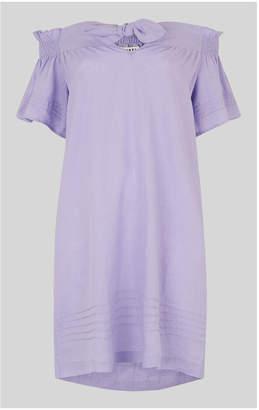 Whistles Linen Tie Front Bardot Dress