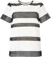 MICHAEL Michael Kors stripe panel T-shirt - women - Cotton/Polyester - L