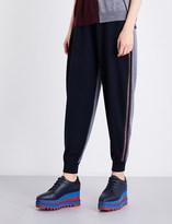 Stella McCartney Contrast-panel skinny mid-rise wool jogging bottoms