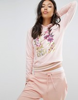 Lipsy Printed Hoodie In Nude With Metallic Logo