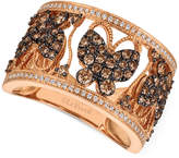 LeVian Le Vian Chocolatier Diamond Butterfly Ring (1 ct. t.w.) in 14k Rose Gold