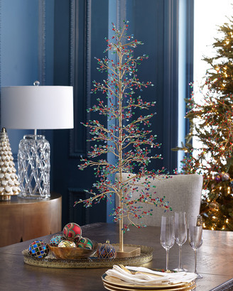 Exclusive 37 Loop Wire Tabletop Christmas Tree with Multicolor Glass Cullets