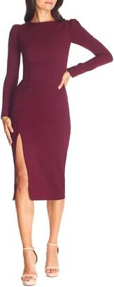 Dress the Population Nadia Long Sleeve Scoop Back Midi Dress
