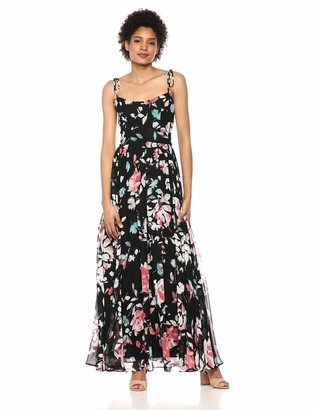 Dress the Population Women's Hollie Sleeveless Flowy Chiffon Long Maxi Gown Dress