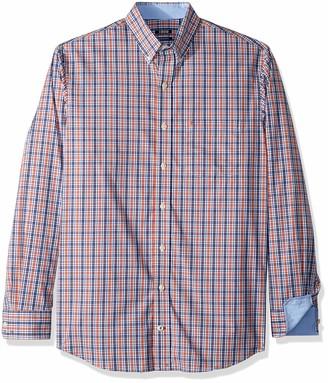Izod Men's Premium Performance Natural Stretch Plaid Long Sleeve Shirt (Big & Tall and Tall Slim) Orange Rust