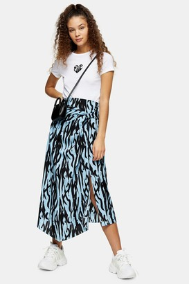 Topshop Blue Zebra Print Midi Skirt