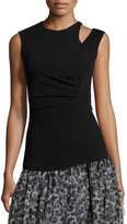 Just Cavalli Sleeveless Ruched Jersey Tank