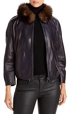 Maximilian Furs Fur Collar Leather Jacket - 100% Exclusive