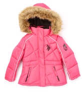 U.S. Polo Assn. Fuchsia Quilted Puffer Coat - Toddler & Girls