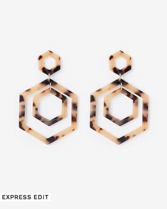 Express Resin Hexagon Post Back Drop Earrings