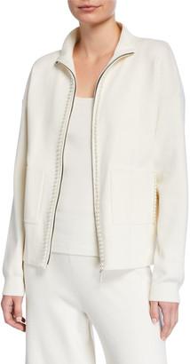 Joan Vass Pearlescent Trim Zip-Front Sweater Jacket