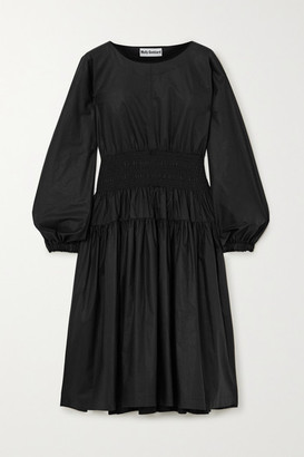 Molly Goddard Jeff Shirred Cotton-poplin Midi Dress - Black