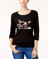 Karen Scott Cotton Holiday Bicycle-Print T-Shirt, Created for Macy's