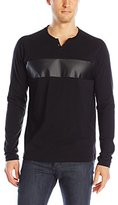 Kenneth Cole Reaction Men's Long Sleeve Pleather Detail Henley Shirt