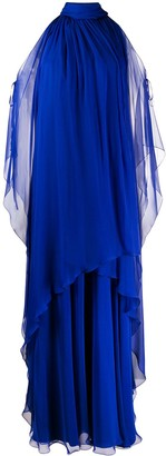 Alberta Ferretti Layered Cut-Out Silk Gown