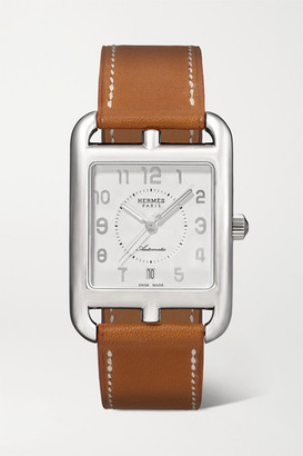 HERMÈS TIMEPIECES Cape Cod Automatic 29mm Large Stainless Steel And Leather Watch - Silver