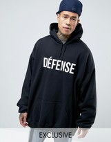 Reclaimed Vintage Super Oversized Hoodie With Defence Print