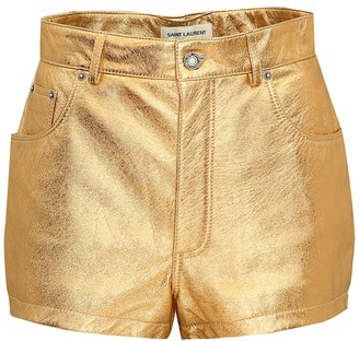 Saint Laurent Metallic leather shorts