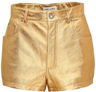 Saint Laurent Metallic leather shorts