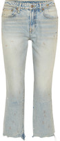 R 13 Kick Fit Cropped Distressed Mid-rise Flared Jeans - Light denim