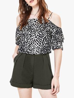 Oasis Animal Bardot Top, Black/White
