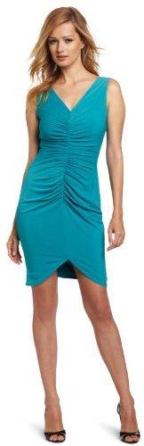 Calvin Klein Women's Ruched V-Neck Dress