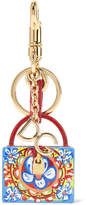 Dolce & Gabbana Gold-plated, Leather And Printed Resin Keychain - Blue