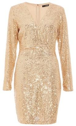 Dorothy Perkins Womens *Quiz Gold Sequin Wrap Front Mini Dress, Gold