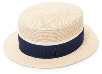 Maison Michel Auguste Grosgrain-trim Hemp Boater Hat - Blue White