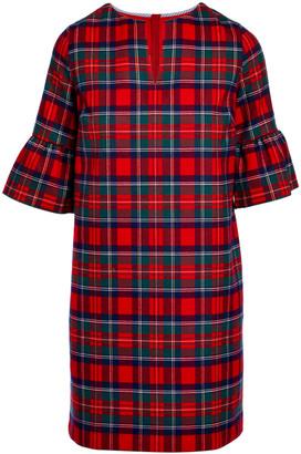 Vineyard Vines Women's Casual Dresses 2559 - Red Velvet Plaid Greenwich Flutter-Sleeve Dress - Women