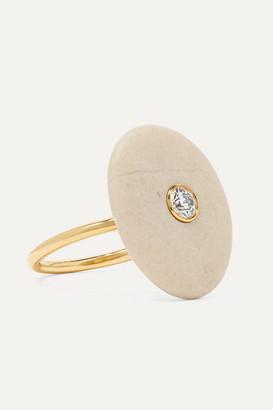 Cvc Stones Celestite 18-karat Gold, Stone And Diamond Ring