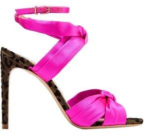 Sophia Webster Violette Velvet-trimmed Satin Sandals