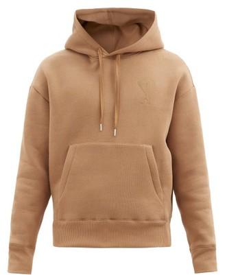 Ami Logo-embroidered Cotton-jersey Hooded Sweatshirt - Beige