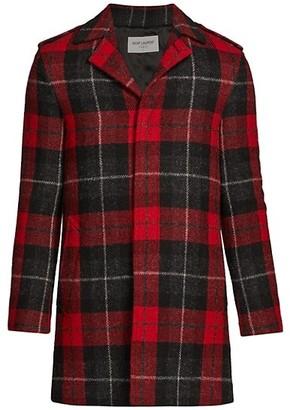 Saint Laurent Plaid Wool-Blend Coat